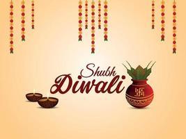 illustrazione vettoriale di shubh diwali con kalash creativo e diwali diya