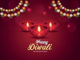diwali il festival della luce, felice cartolina d'auguri di celebrazione del festival indiano di diwali con diwali diya creativo e fiore di ghirlanda vettore