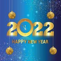 carta di invito felice anno nuovo 2022 con orologio da parete dorato vettore