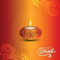 felice diwali celebrazione biglietto di auguri con olio di diwali creativo diya su sfondo creativo vettore