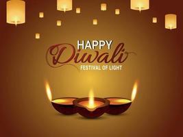 felice diwali illustrazione vettoriale biglietto di auguri con diwali diya e lampada