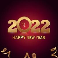cartolina d'auguri di celebrazione di felice anno nuovo con effetto di testo dorato creativo vettore