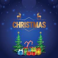 biglietto di auguri natalizio con albero di natale vettoriale e regali