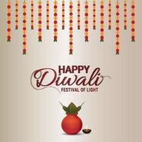 felice diwali celebrazione biglietto di auguri con kalash creativo e fiori di ghirlanda vettore