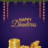 felice dhanteras celebrazione biglietto di auguri con moneta d'oro vettoriale creativo e ghirlanda di fiori