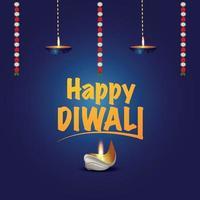 felice celebrazione del festival indiano di diwali con diwali diya vettore