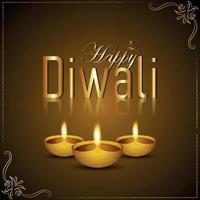 felice diwali celebrazione biglietto di auguri con diwali diya vettore