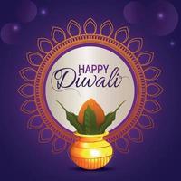 felice festival indiano di diwali, diwali il festival della luce con kalash creativo su sfondo viola vettore