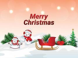 illustrazione vettoriale di buon natale santa clous, palle di neve e regali