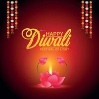 felice diwali festival di luce illustrazione vettoriale di diwali diya e ghirlanda di fiori