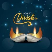 biglietto di auguri di celebrazione felice diwali realistico con diwali diya creativo vettore