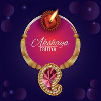illustrazione di celebrazione di akshaya tritiya, cartolina d'auguri di promozione dei gioielli del festival dell'India vettore