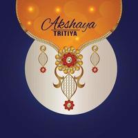 illustrazione della celebrazione di akshaya tritiya con illustrazione creativa di gioielli in oro e diamanti vettore