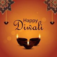 biglietto di auguri di invito felice diwali con lampada a olio e diya vettore