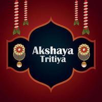 akshaya tritiya celebrazione illustrazione vettoriale con orecchini d'oro e ghirlanda di fiori