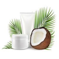 cosmetici al cocco, illustrazione vettoriale. cocco realistico con tubo di crema mockup, foglie di palma. vettore