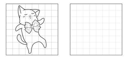 copia l'immagine del gatto kawaii con il fumetto del farfallino vettore