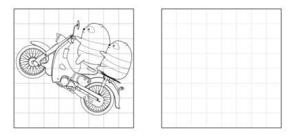 copia l'immagine dei panda che guidano i cartoni animati della motocicletta vettore