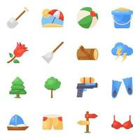 set di icone di viaggi e vacanze vettore
