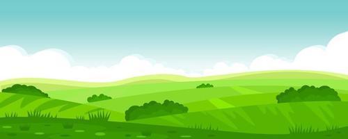 illustrazione vettoriale di un bellissimo paesaggio di campi estivi, verdi colline, cielo blu di colore brillante, paese. sfondo in stile cartone animato piatto, banner.