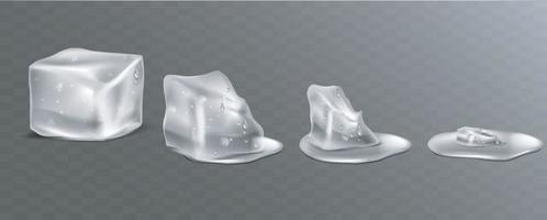 cubetti di ghiaccio che si sciolgono bagnati e pozzanghere d'acqua in stile realistico. eps 10 vettoriale