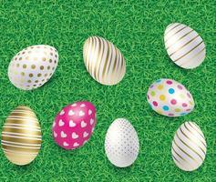 Uova di Pasqua 3D con erba verde. vettoriale eps 10
