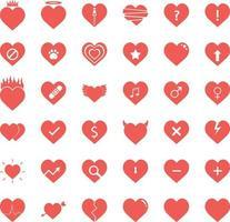 set di icone del cuore vettore