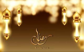 Ramadan Kareem calligrafia felice vacanza con lanterna vettore