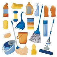 pulizia. un set di strumenti per la pulizia della casa, isolato su uno sfondo bianco. detergenti e disinfettanti, mop, secchi, spazzola e scopa. illustrazione vettoriale