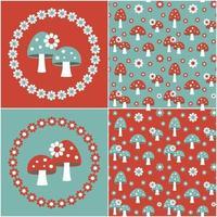 modelli di funghi senza cuciture rosso blu con cornici di fiori vettore