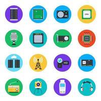 set di icone di dispositivi hardware e tecnologia vettore