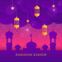 design di ramadan kareem in stile taglio carta vettore