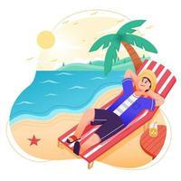 uomo che gode dell'estate in spiaggia vettore