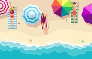 persone che prendono il sole sulla spiaggia vettore