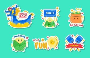 simpatico set di adesivi del festival della barca del drago vettore