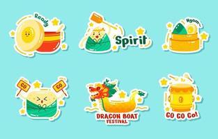 set di adesivi del festival della barca del drago vettore