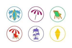 set di icone colorate estate vettore