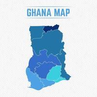 mappa dettagliata del ghana con le città vettore