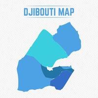 Gibuti mappa dettagliata con le città vettore