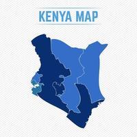 kenya mappa dettagliata con le regioni vettore