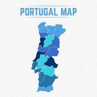 mappa dettagliata del portogallo con gli stati vettore