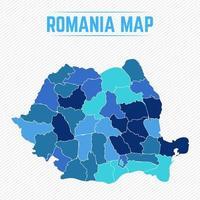 mappa dettagliata della romania con gli stati vettore