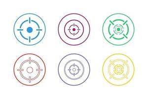 obiettivo concentrarsi sul set di icone di obiettivo vettore