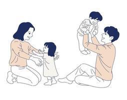 famiglia felice. illustrazioni di disegno vettoriale stile disegnato a mano.