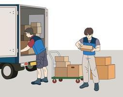 il fattorino sta tirando fuori la scatola dal camion. illustrazioni di disegno vettoriale stile disegnato a mano.