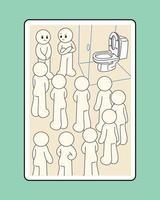 personaggi che aspettano il loro turno davanti all'unico bagno. illustrazioni di disegno vettoriale stile disegnato a mano.