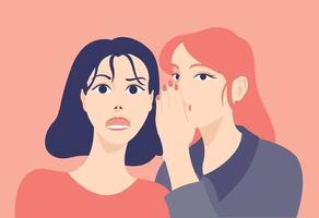 una donna sta raccontando un segreto all'orecchio di un'altra donna. illustrazioni di disegno vettoriale stile disegnato a mano.