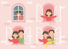 una finestra che mostra il processo di una donna che crea una famiglia. illustrazioni di disegno vettoriale stile disegnato a mano.