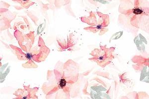 Seamless pattern di acquerelli che sbocciano fiori vettore