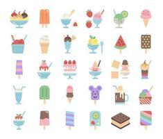 icone vettoriali piatte di gelato